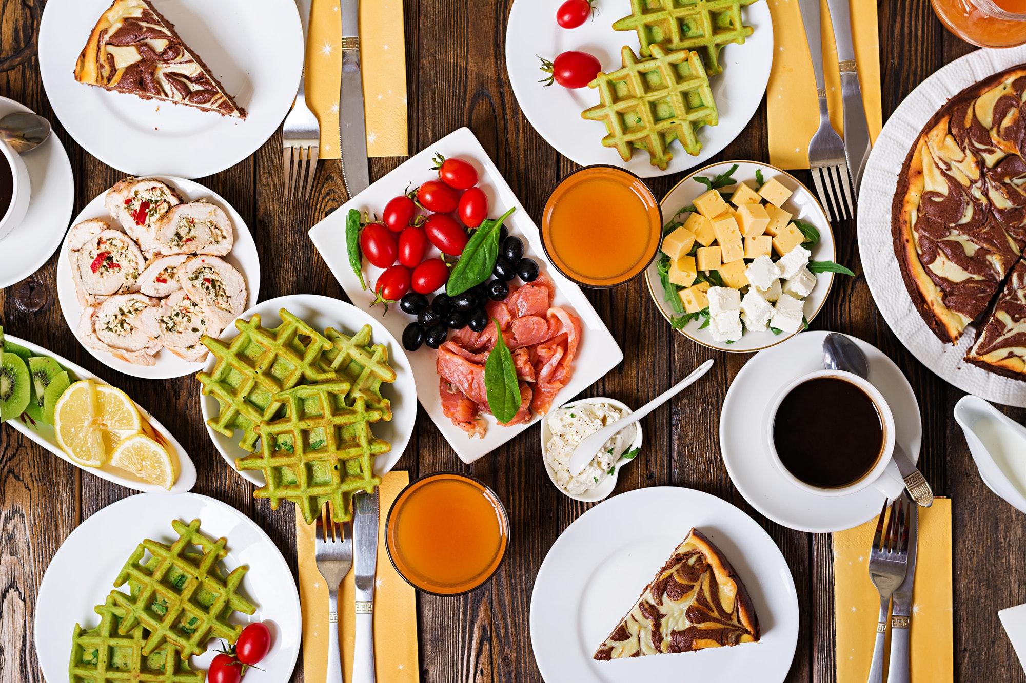 Breakfast food table. Festive brunch set